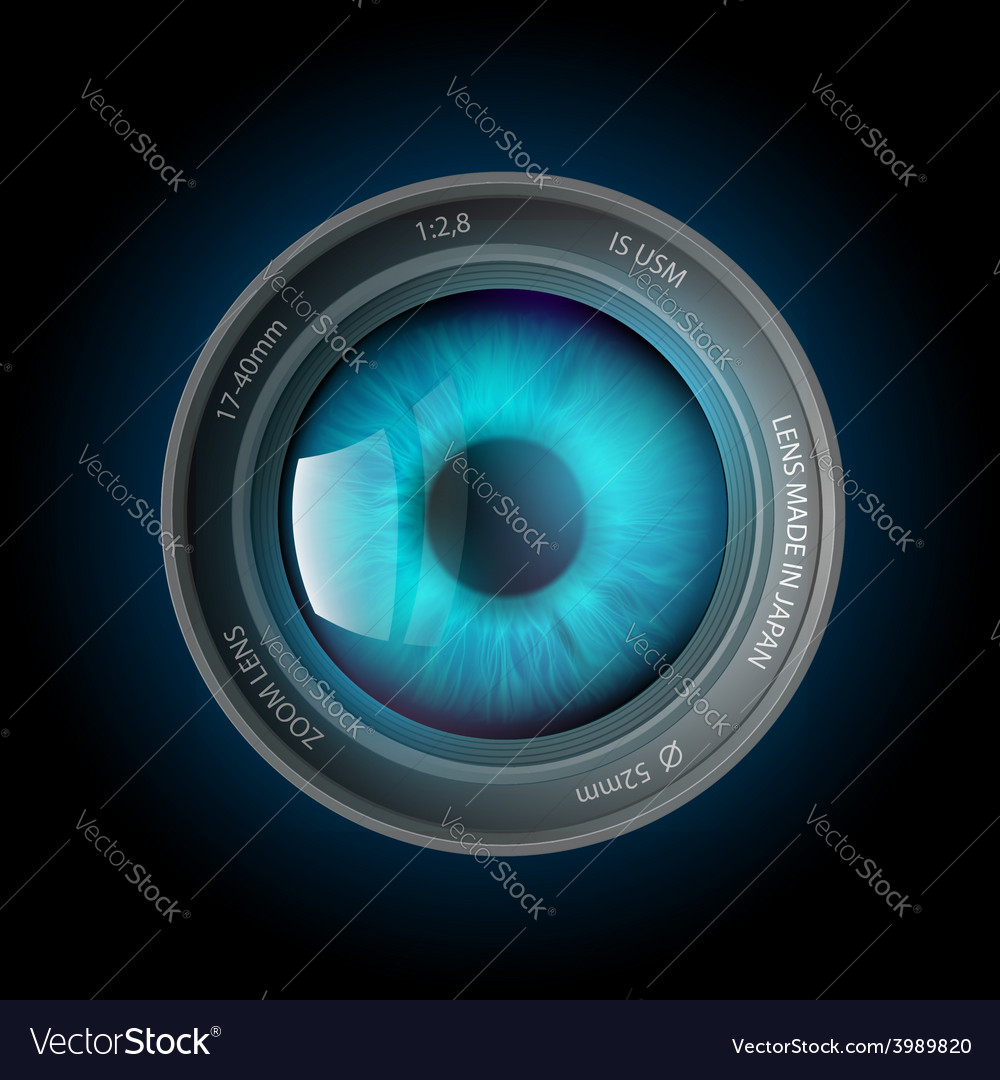 Eye inside the camera lens vector