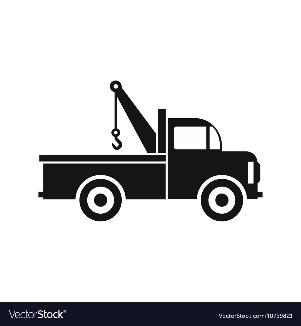 Car towing truck icon in flat style icon vector