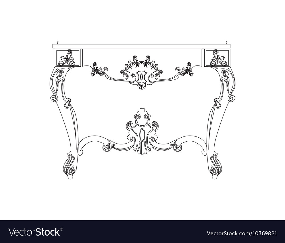 Classic royal table with luxurious ornaments vector