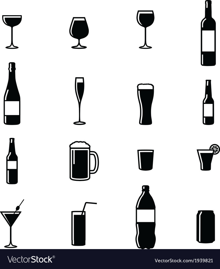 Set of sixteen drinks black white silhouettes vector