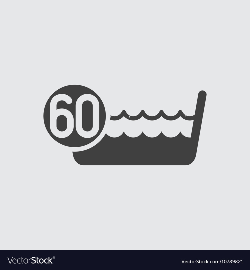 Wash below or at 60 degrees icon vector