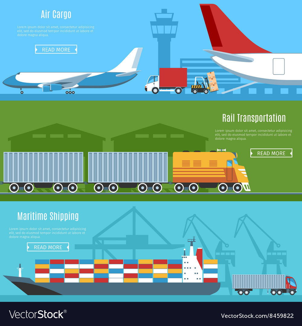 Logistic and transportation banners set vector