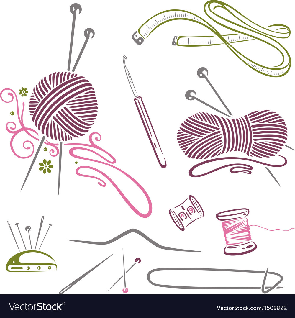 Needlework knitting wool crochet vector