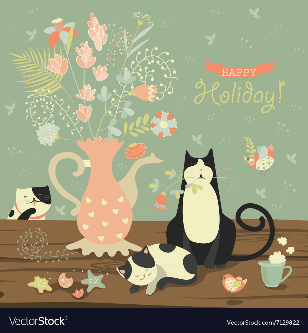 Stilllife with a bouquet of flowers and cats vector
