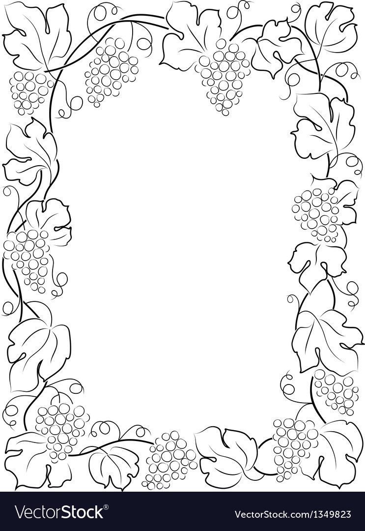 Black calligraphy frame wine label vine grapes vector