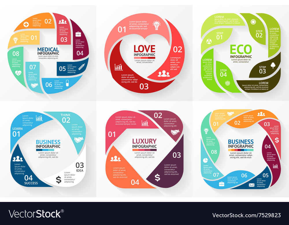 Circle infographics set cycle diagram vector