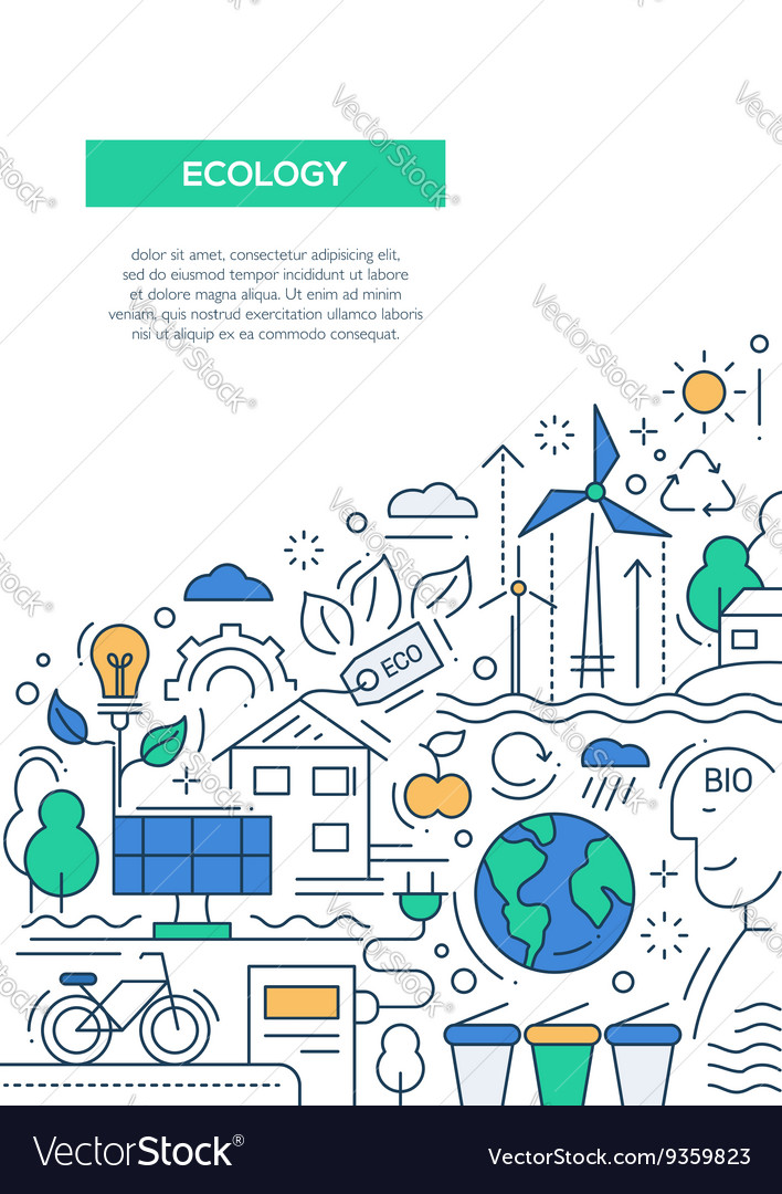 Ecology  line design brochure poster template a4 vector