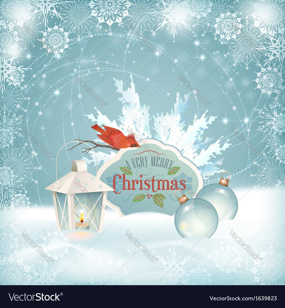 Xmas bird lantern christmas balls background vector