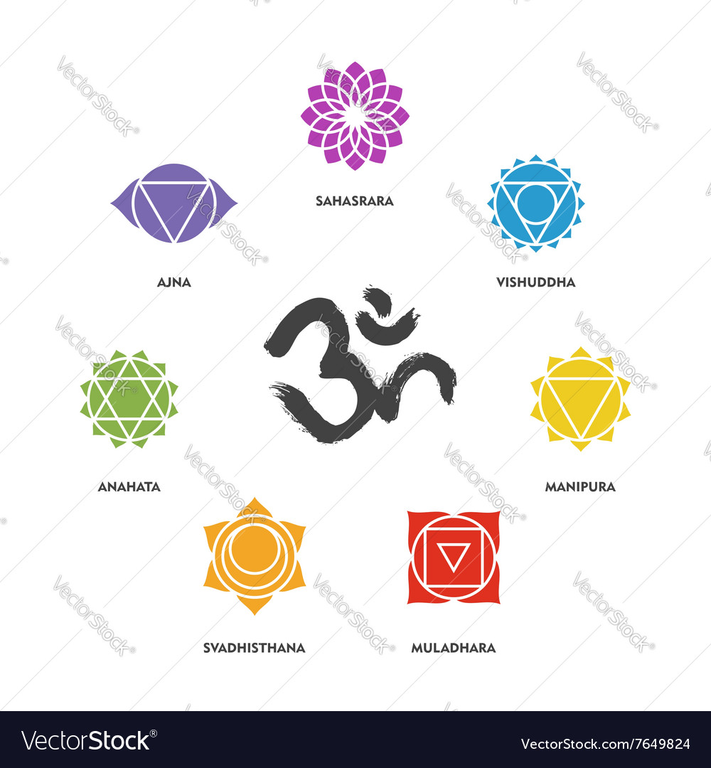 Colorful chakra symbol set and om calligraphy vector