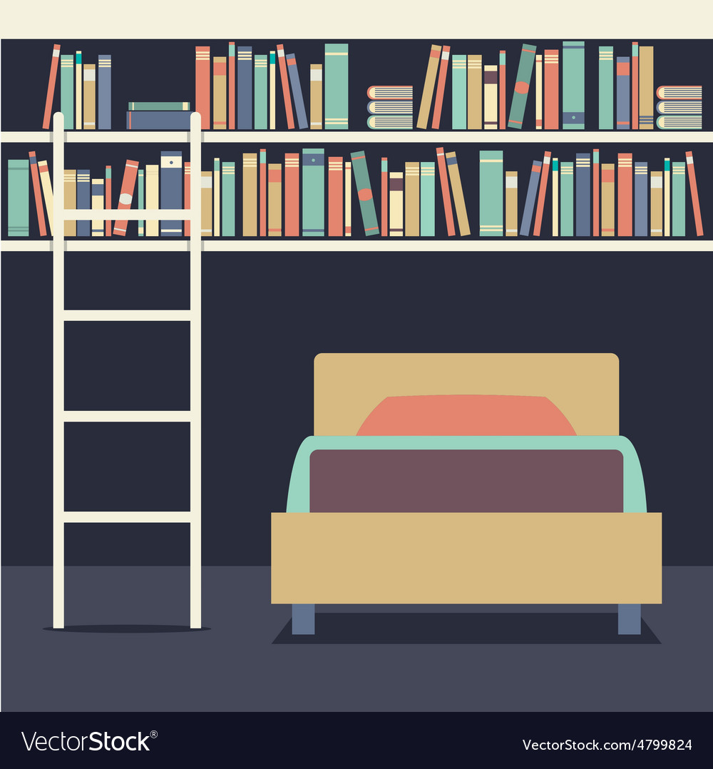 Flat design single bed with ladder on bookshelves vector