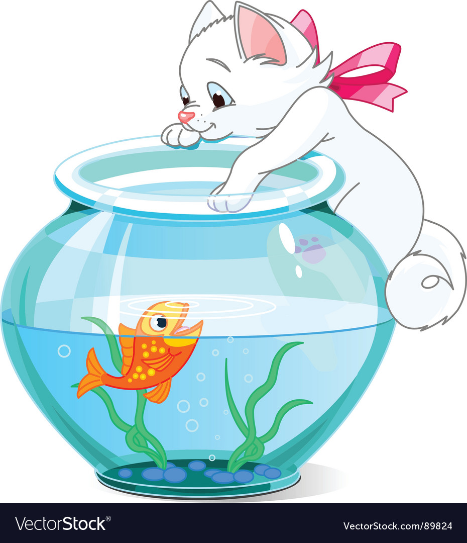 Kitten and fish cartoon vector