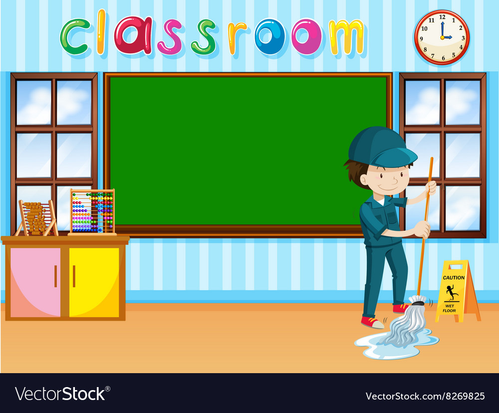 Janitor cleaning the classroom vector