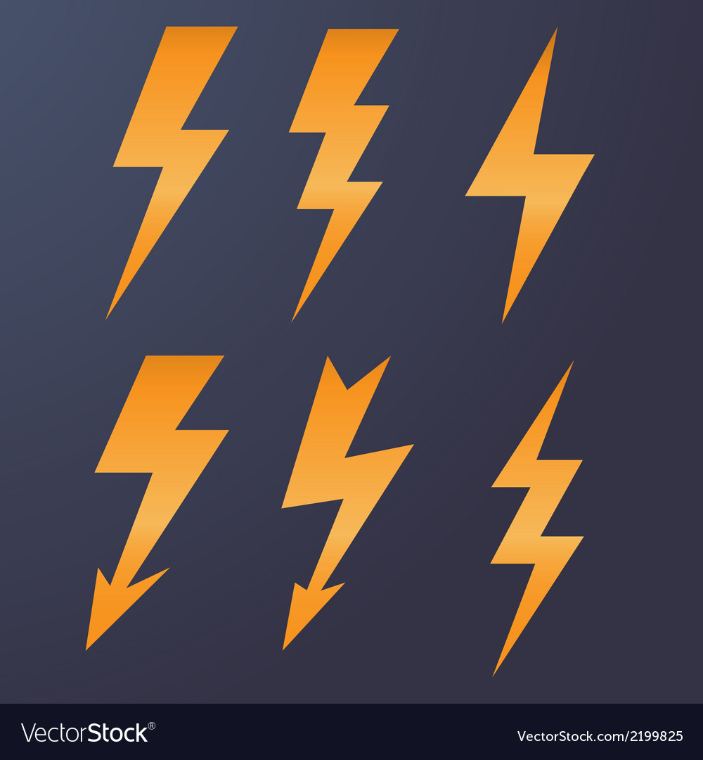 Lightning icon flat design long shadows vector