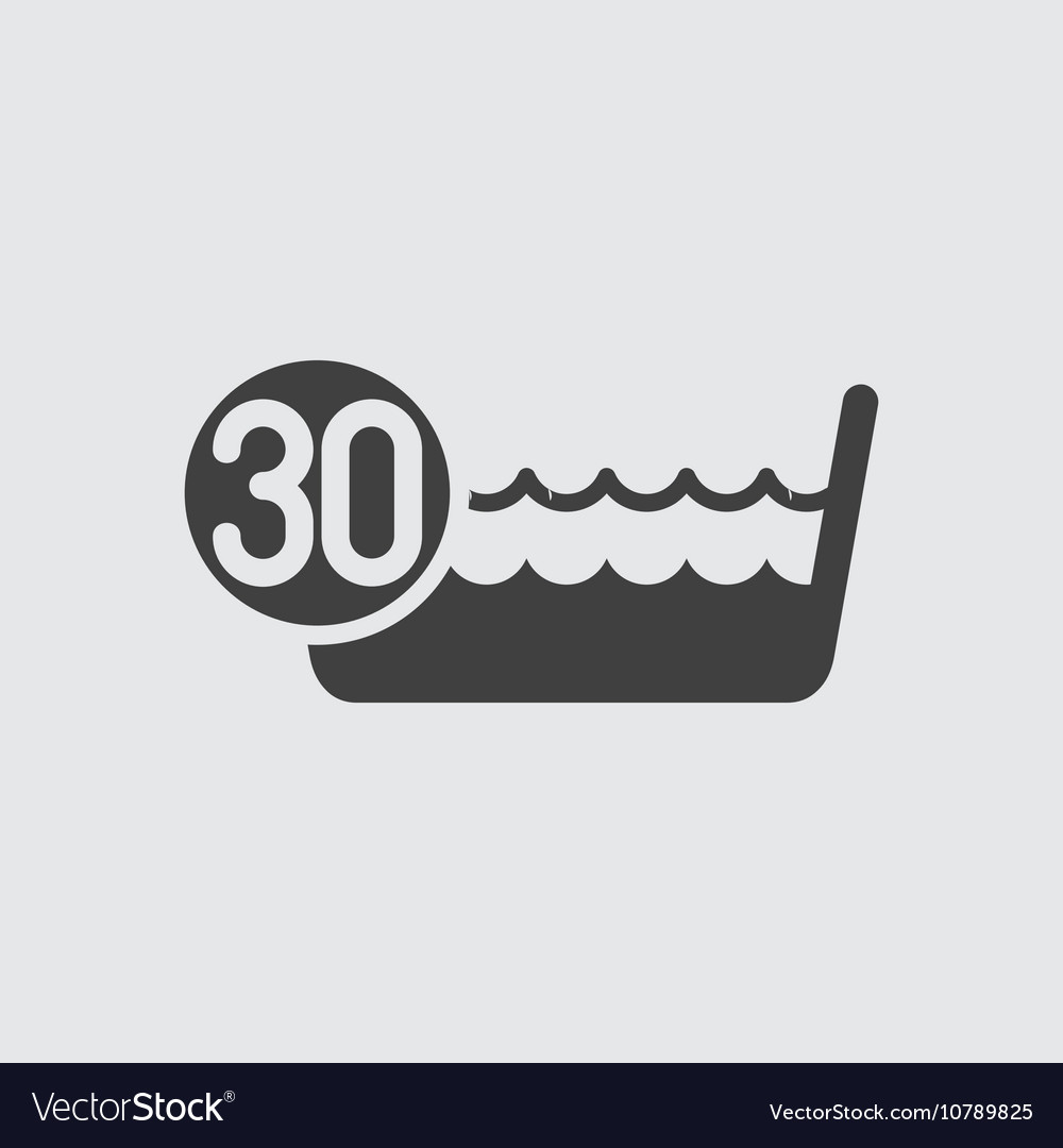 Wash below or at 30 degrees icon vector