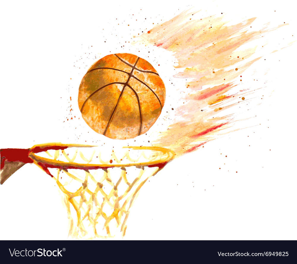 Watercolor basketball ball thrown in a basket vector