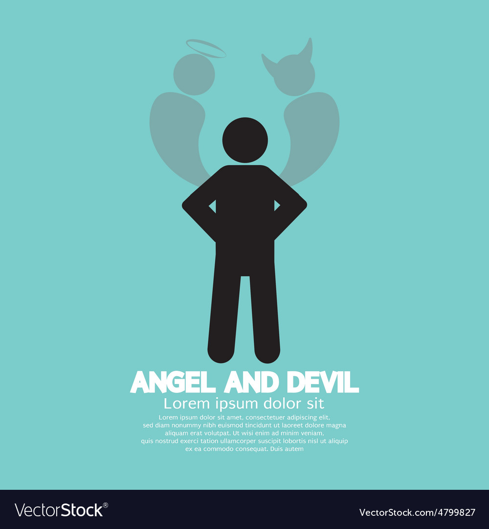 Angel and devil dark side and bright side of human vector