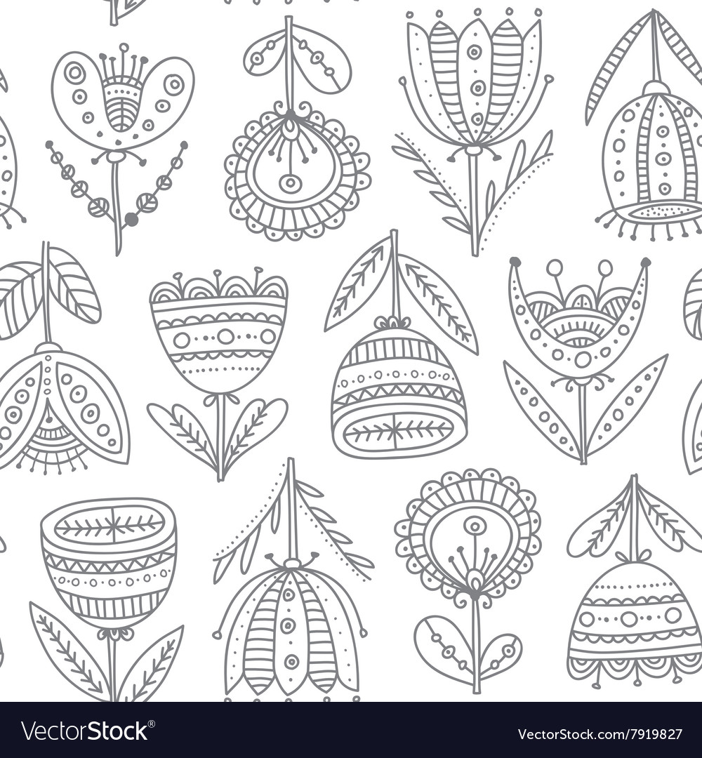 Ethnic flowers tulips seamless pattern vector