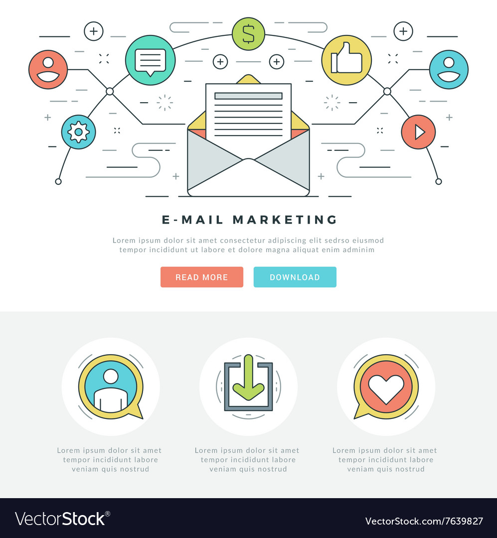 Flat line email marketing concept vector