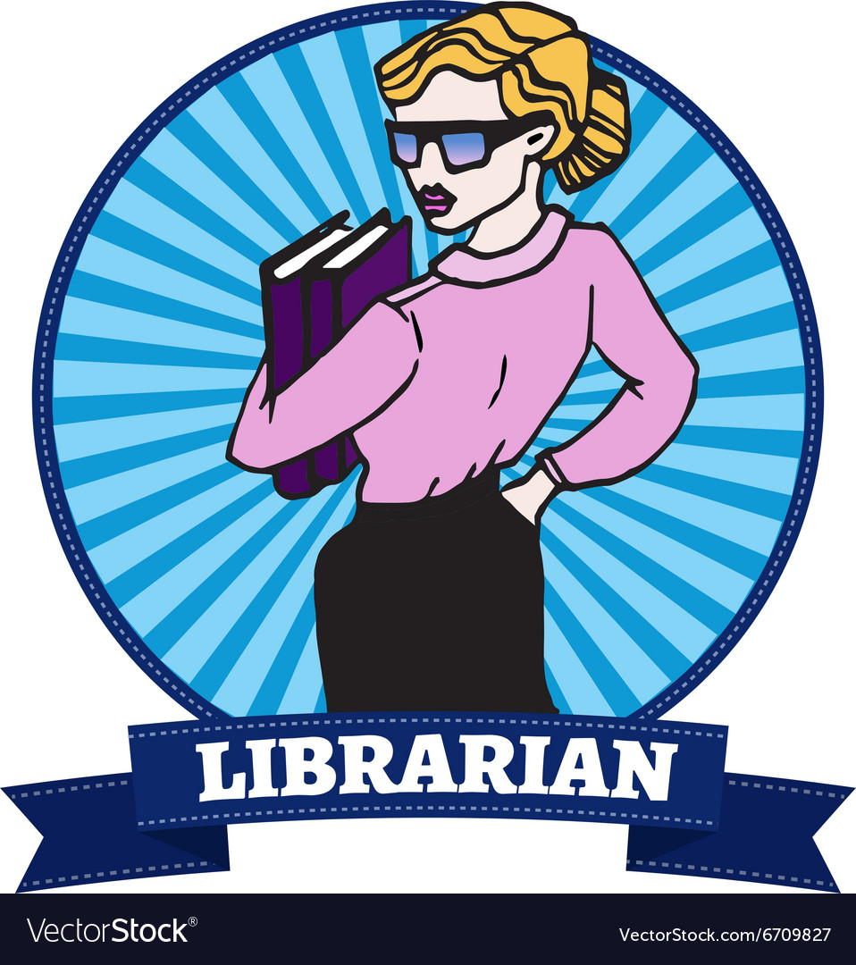 Young woman wearing glasses holding a book vector