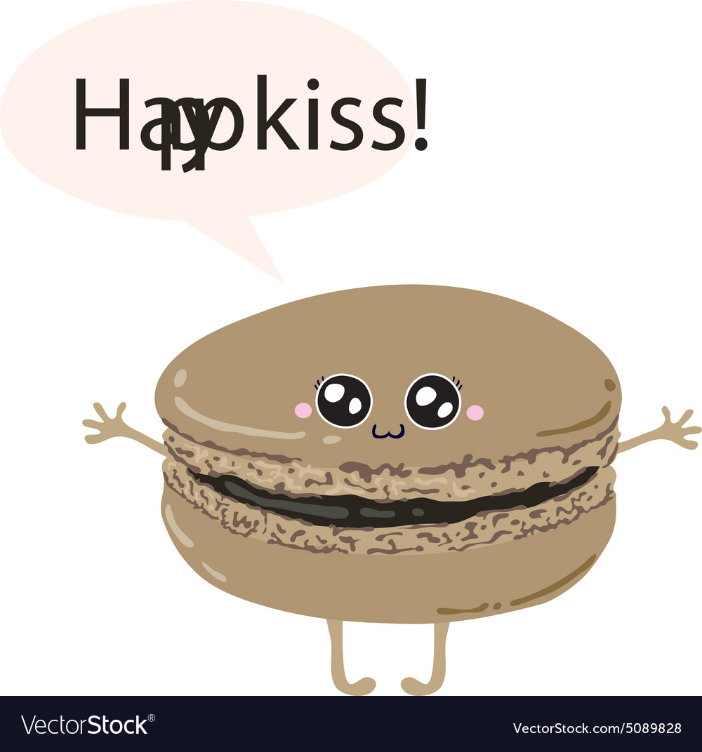 Greeting card with cute macaroon happy kiss vector