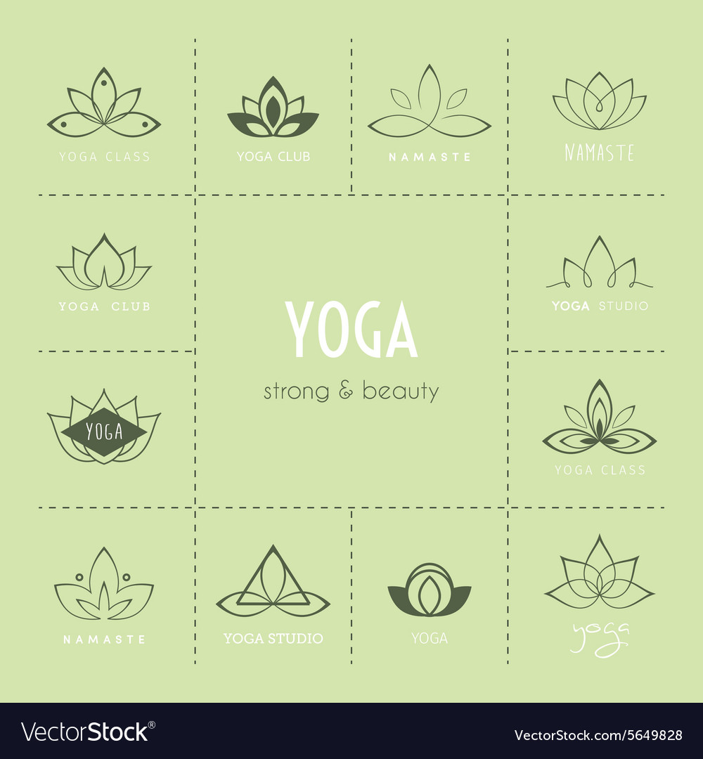 Set of logos for a yoga studio vector