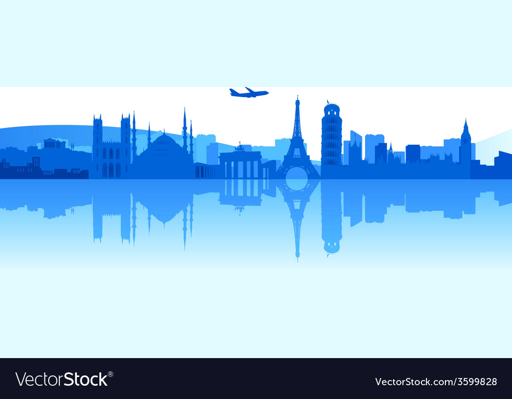 Traveling around europe vector