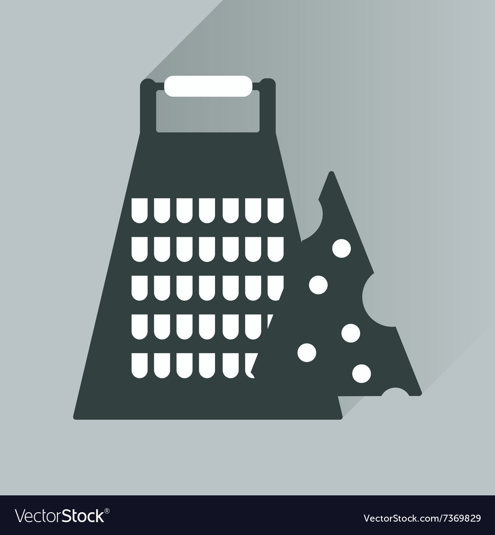 Flat icon with long shadow grater and cheese vector