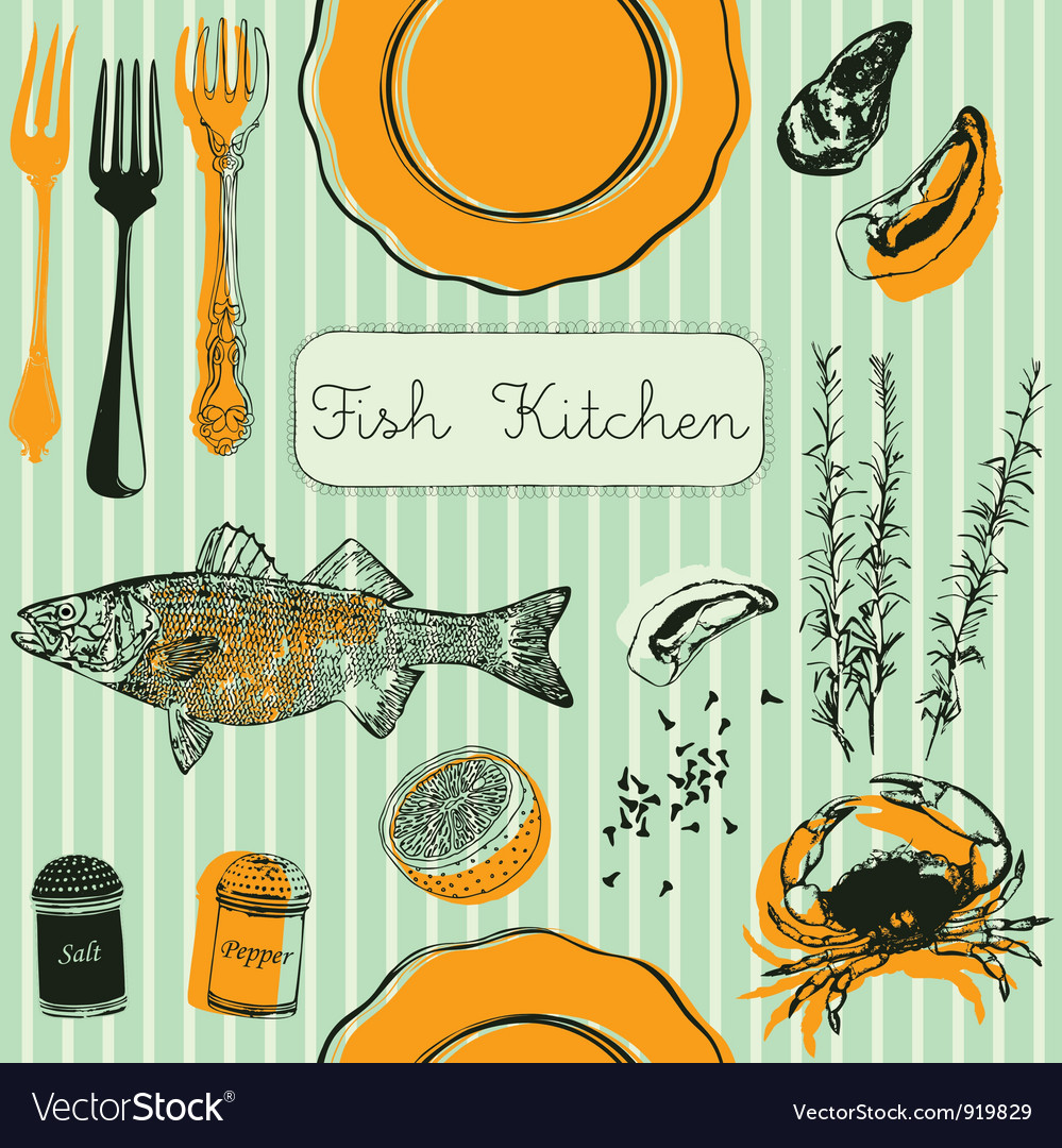 Retro fish kitchen pattern background vector