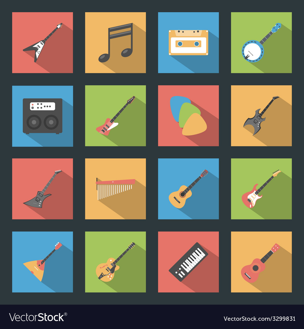 Musical instruments flat icons set vector