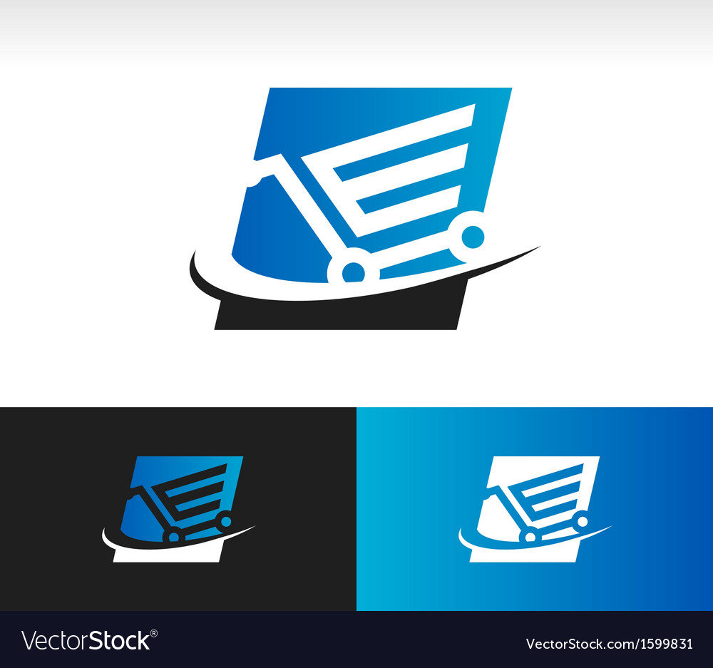 Swoosh shopping cart logo icon vector