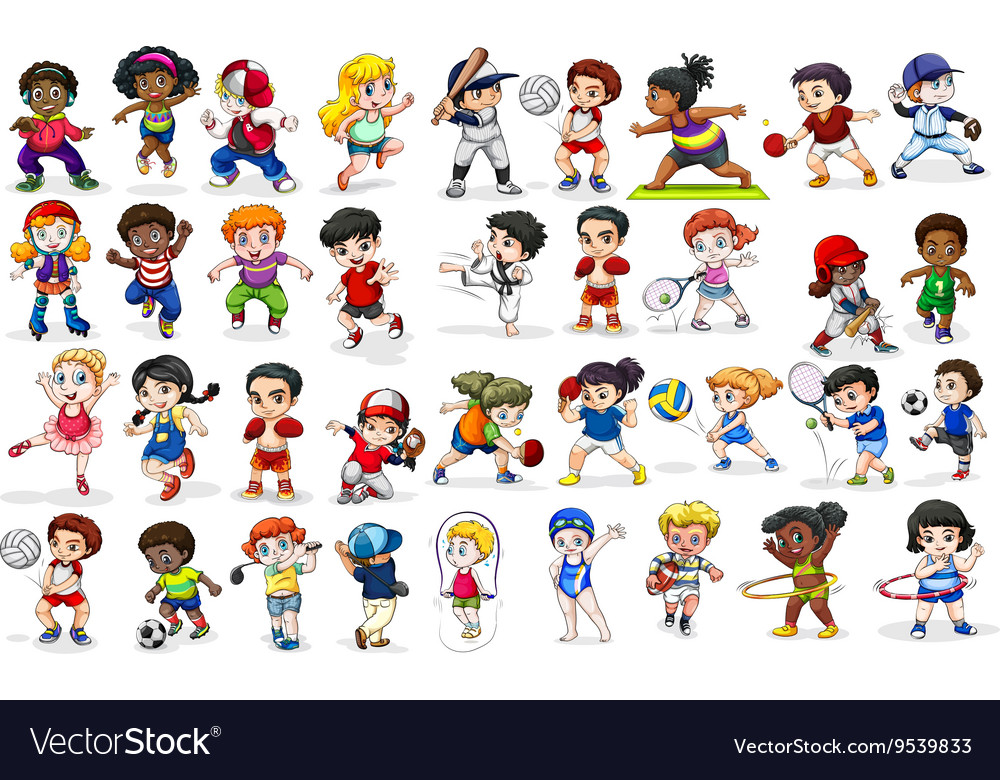 Children doing many sports and activities vector