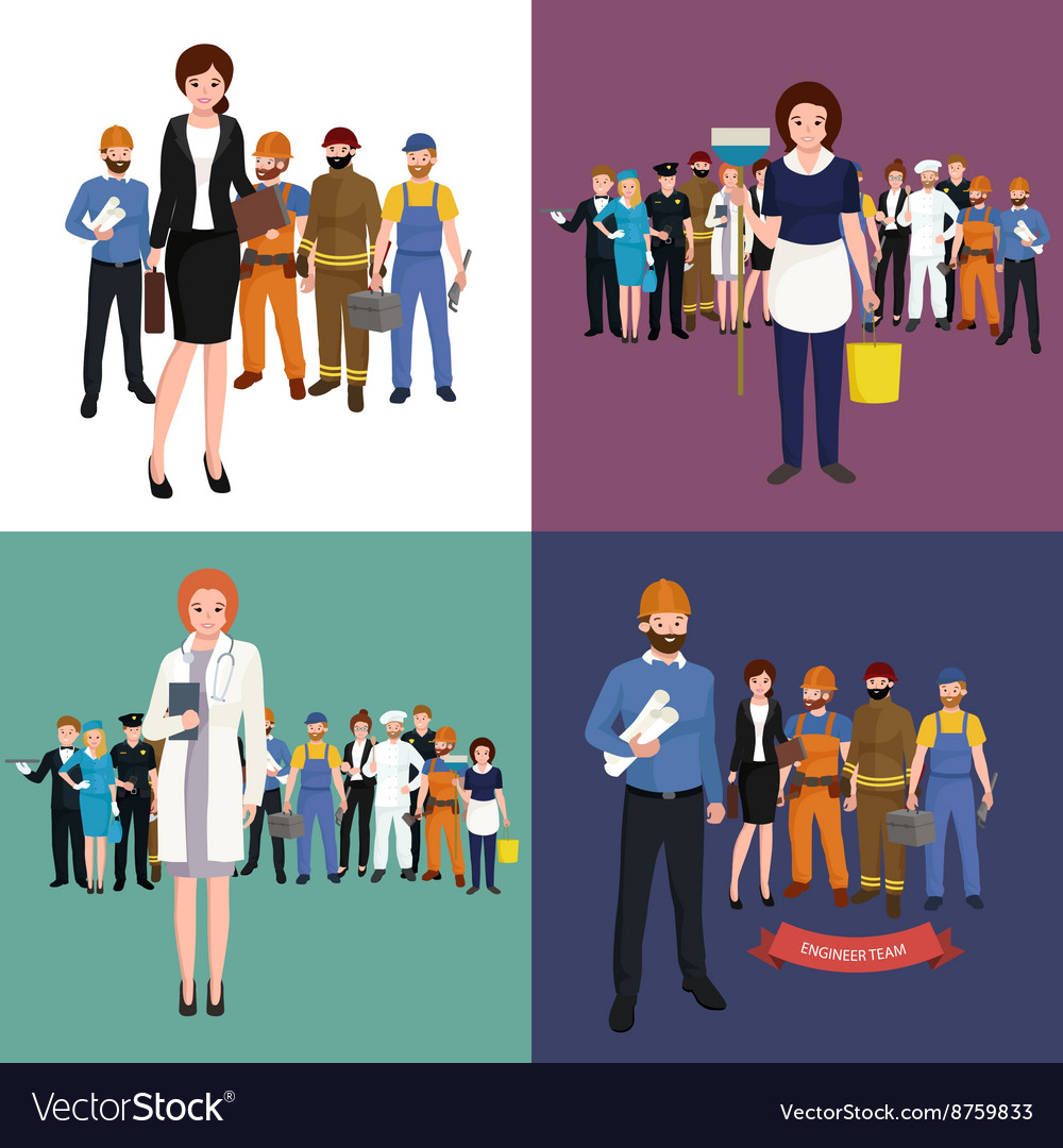 People different profession man and woman vector