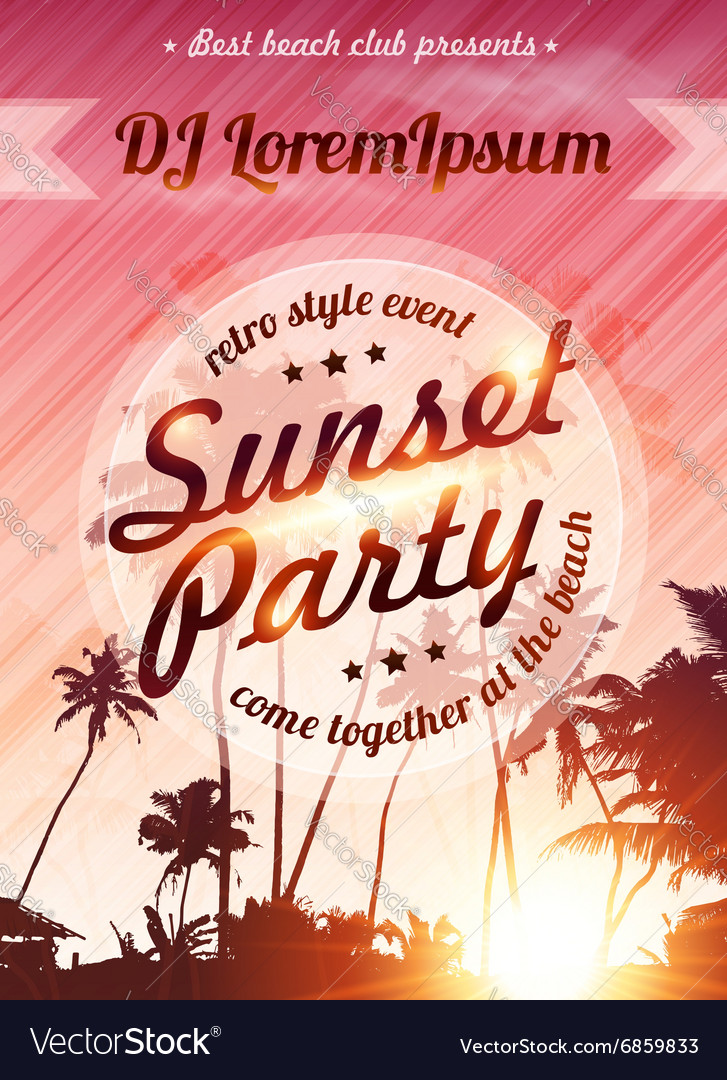 Sunset beach party pink poster template vector