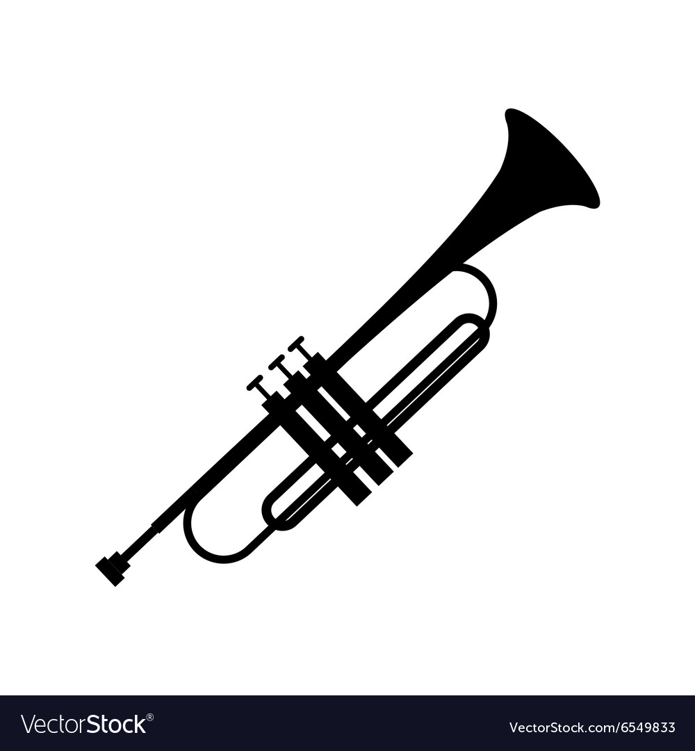 Trumpet simple black icon vector