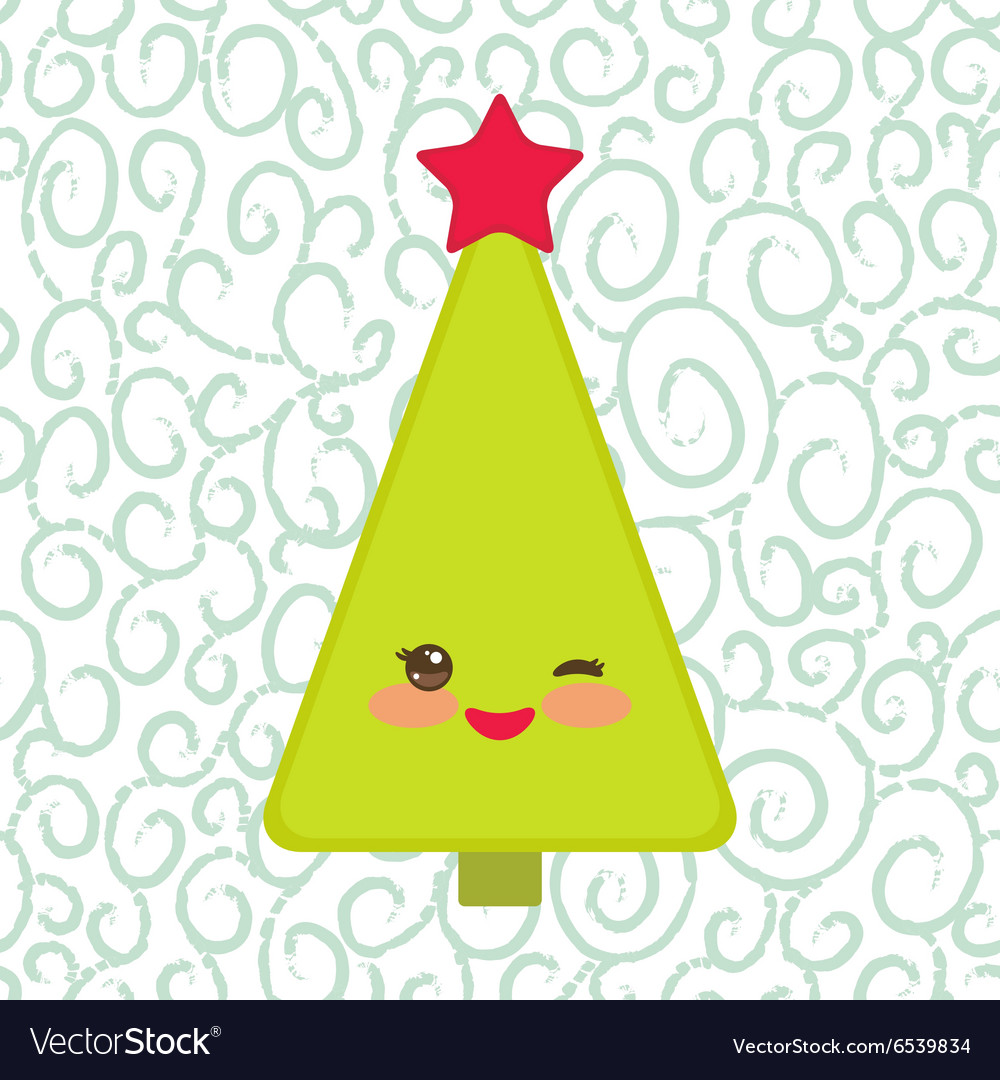 Happy new year card funny green christmas tree vector