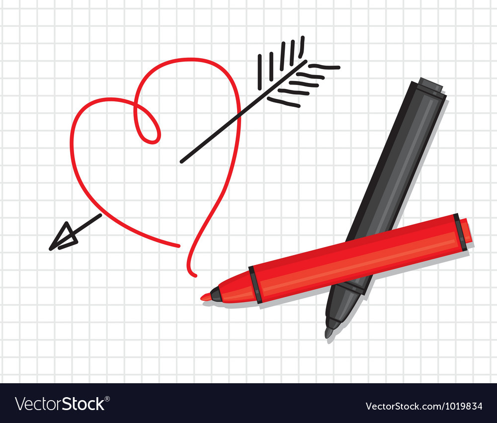 Heart and markers vector