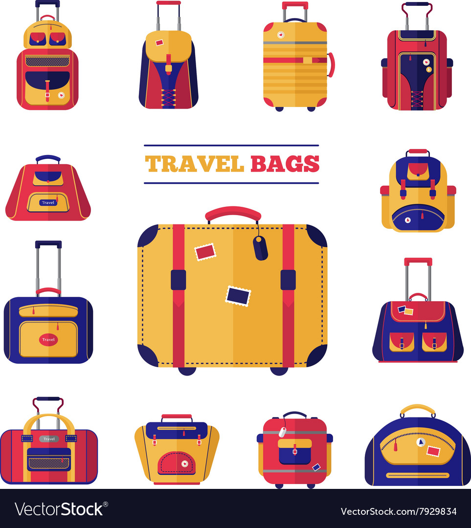 Luggage travel bags set vector