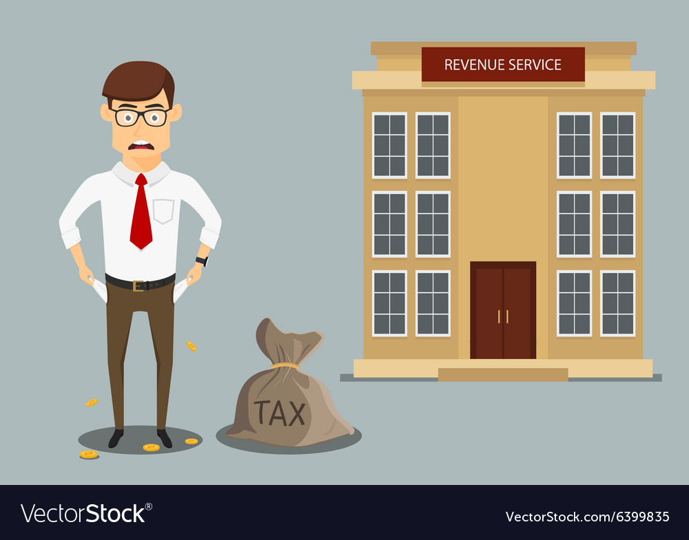 Businessman with empty pockets after paying taxes vector