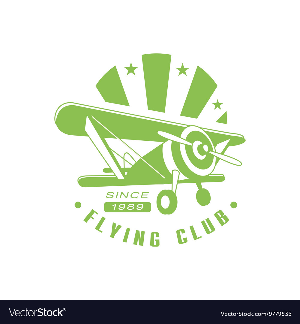 Flying club green emblem design vector