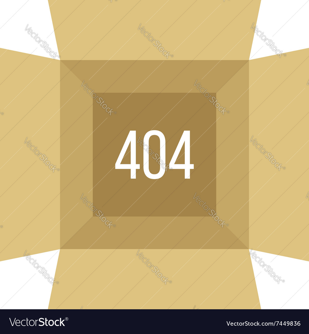 Opened box with 404 error vector