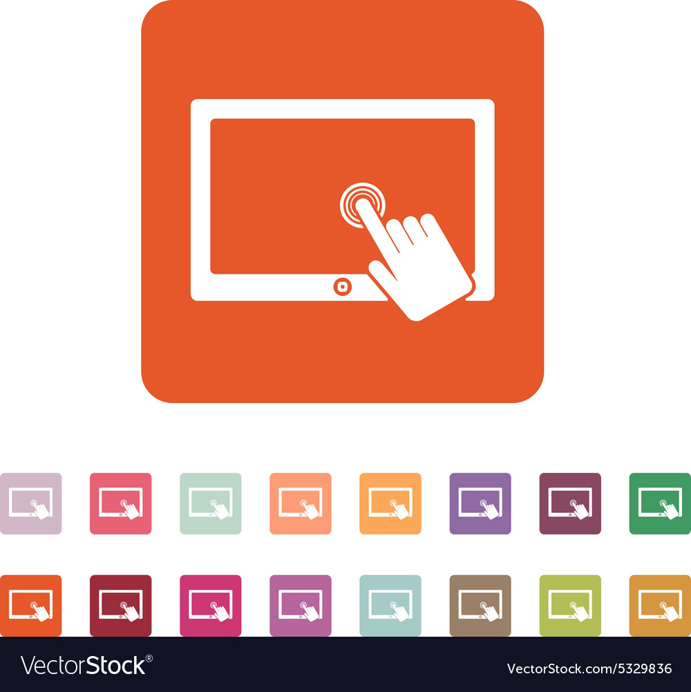 Touch screen icon tablet symbol flat vector