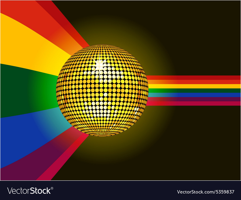 Disco ball glowing over rainbow background vector