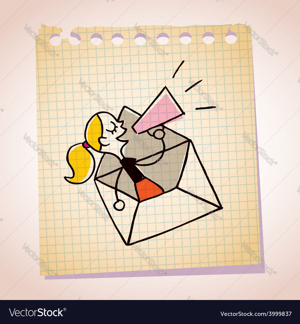 Girl message loudhailer note paper cartoon sketch vector
