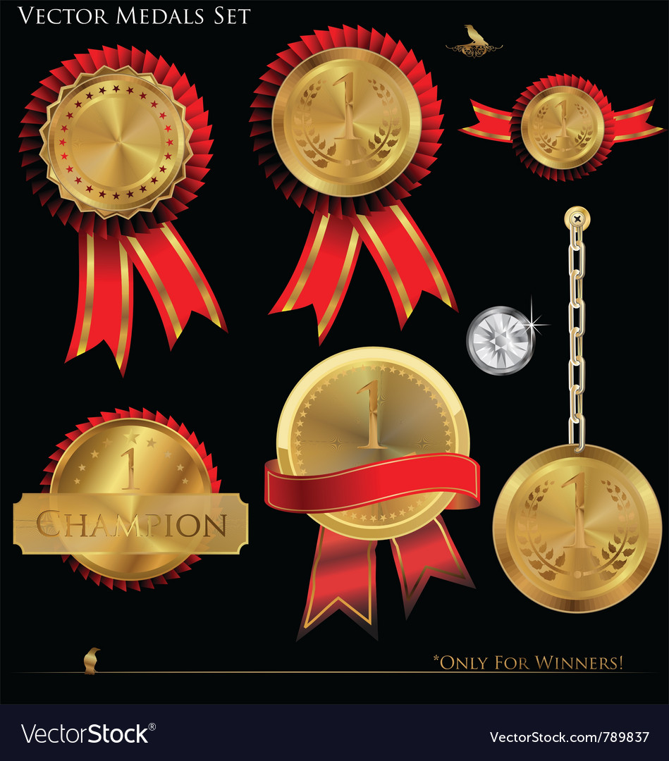 Gold medals set vector