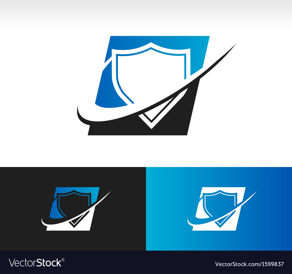 Swoosh shield logo icon vector