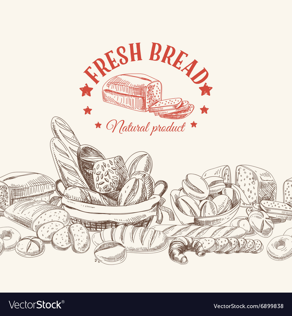 Bakery retro background vector
