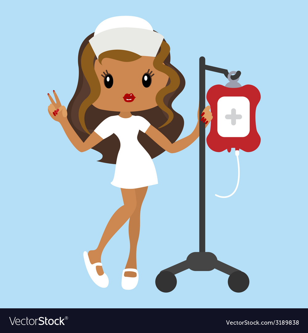 Cartoon nurse character with dropper vector
