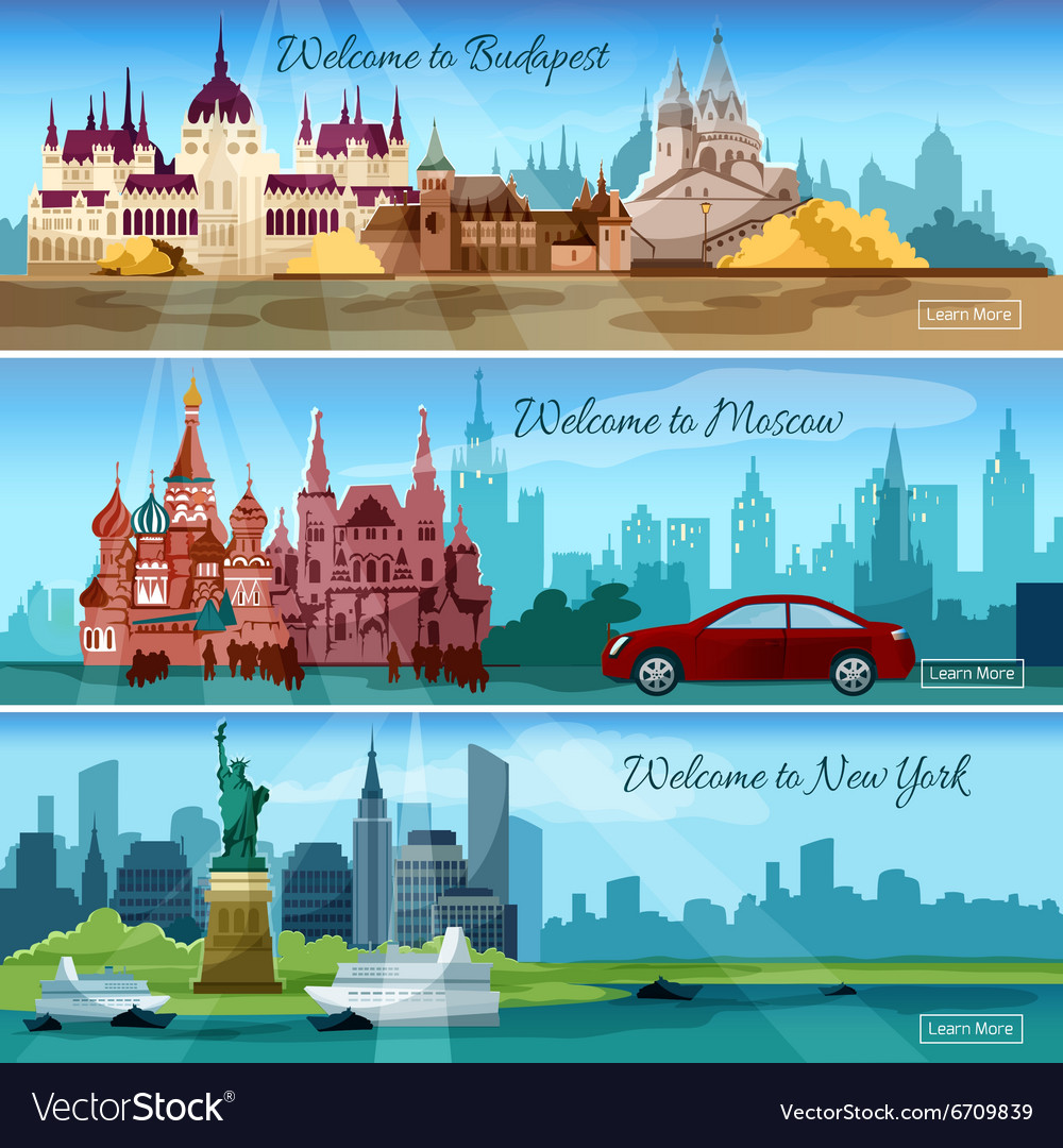 Famous cities banners vector