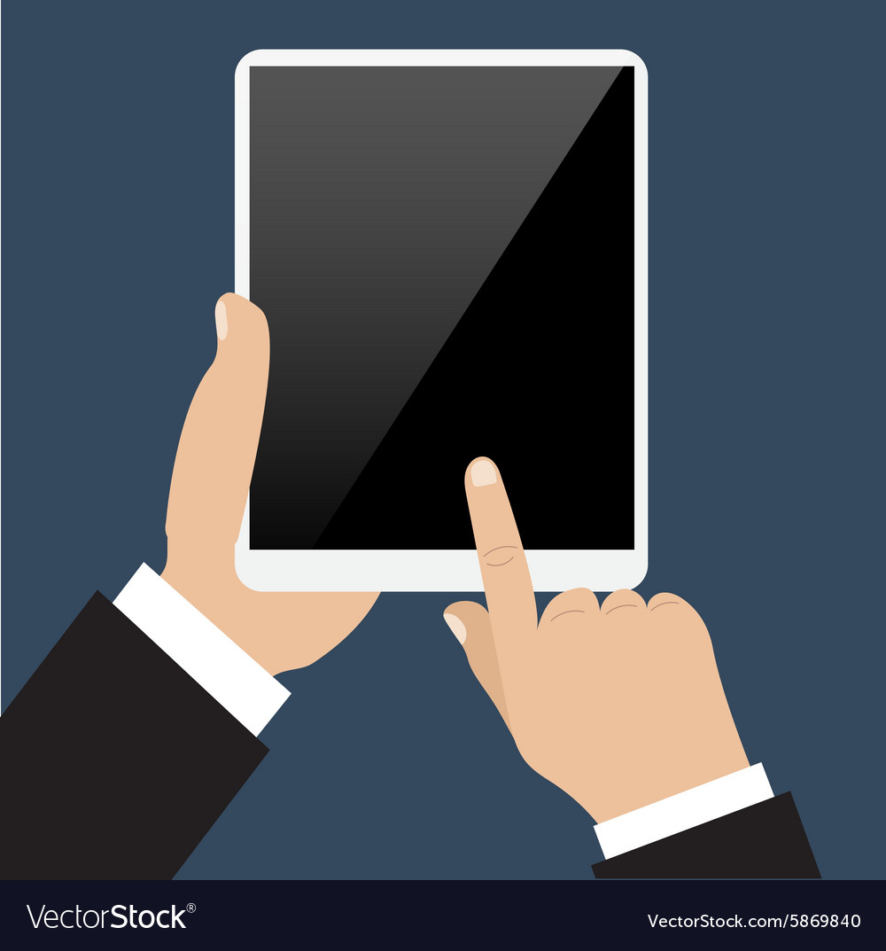 Business man holds and manages tablet computer vector