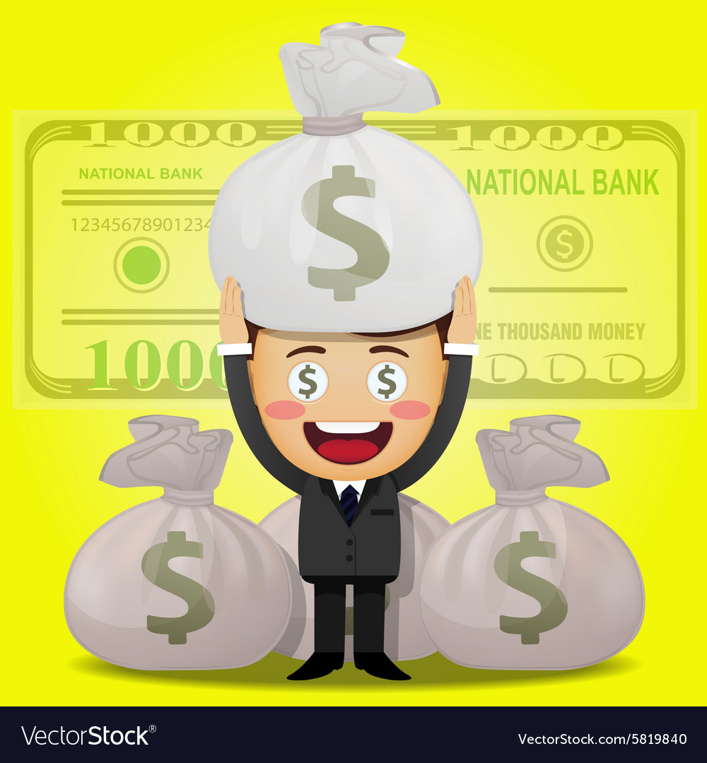 Happy man carrying big money bag vector